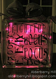 Halloween Glass Blocks with Lights - Alderberry Hill | Alderberry Hill