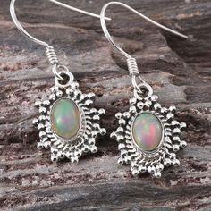 Artisan Crafted Ethiopian Welo Opal Earrings in Sterling Silver (Nickel Free)
