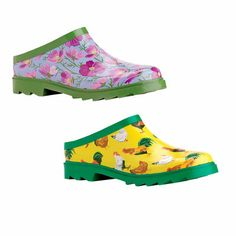 Gardener's Clogs: love the chickens! Need to get some of these for working in the coop.