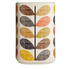 """Orla Kiely Utensils Pot ~ """"Add a touch of galmour when keeping your kitchen utensils organised and accessible with this beautiful Orla Kiely untensils pot. This handmade pot with iconic Multi Stem print by Orla Kiely will sit beautifully in any kitchen. Funky Kitchen, Kitchen Jars, Stylish Kitchen, Kitchen Utensils, Kitchen Ideas, Kitchen Stuff, Kitchen Dining, Orla Kiely, Pots"""
