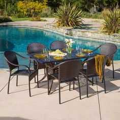 Outdoor Best Selling Home Decor Furniture Alicia Wicker 7 Piece Rectangular Patio Dining Set - 294941