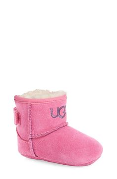 Free shipping and returns on UGG® 'Jesse' Suede Boot (Baby & Walker) at Nordstrom.com. Your little one's feet will stay warm and toasty in this soft suede bootie that features a hook-and-loop closure for easy on and off. The soft, cozy lining is made from plush UGGpure, a textile made entirely from wool but engineered to feel and wear like genuine shearling.