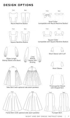 Includes 2 bodices 2 collars 6 sleeves and 3 skirts for a total of 72 potential dresses B to DD cup sizes Includes a instruction book Choose your own adventure with Dress Design Sketches, Fashion Design Drawings, Fashion Sketches, Fashion Drawing Dresses, Drawings Of Dresses, Drawing Fashion, Fashion Design Template, Diy Design, Vintage Dress Patterns