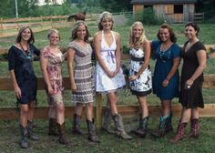 simple bridesmaid dresses to wear with cowboy boots | We Love Girls in Boots (from left to right) Corral, Tony Lama Vaquero ...