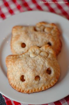 Hello kitty pocket pies.    Use large cookie cutters to cut out the shape, and a fork to crimp the edges - no pocket pie mold required!