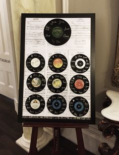 Love this vintage vinyl record table plan #exclusive #wedding #venue #ashfield house