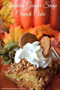 Pumpkin Ginger Snap Crunch Cake  http://recipesforourdailybread.com/2013/10/16/pumpkin-ginger-snap-crunch-cake/