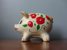 Shop for on Etsy, the place to express your creativity through the buying and selling of handmade and vintage goods. Pig Bank, Pig Stuff, Cute Piggies, This Little Piggy, Cookie Jars, Pigs, Teapot, Pepper, Hand Painted