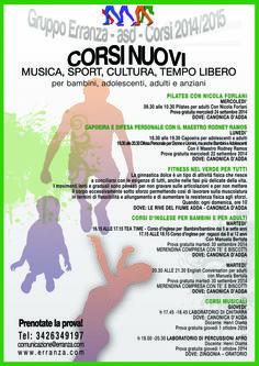 I corsi culturali e sportivi del Gruppo Erranza ASD a Canonica d'Adda e a Zingonia