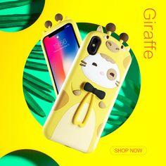 Giraffe&Rabbit Animal Cartoon Soft Silicone Cover Cute iPhone Ca Cool Phone Cases, Iphone Cases, Pink Rabbit, 3d Cartoon, Mobile Accessories, How To Look Pretty, Giraffe, Smartphone, Super Cute