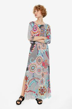 Women's long white dress with boat neck, three-quarter-length sleeves and floral print. New Woman Collection. Ted, Boat Neck, Floral Prints, White Dress, Swimwear, Sleeves, Collection, Dresses, Women