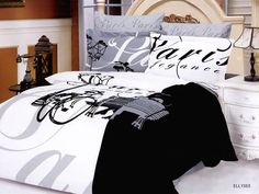 Ellysee Paris Black Gray Duvet Bedding Set QUEEN *New Arrival* - back in stock whiles supplies last! Elysee european satin weave Duvet bedding s