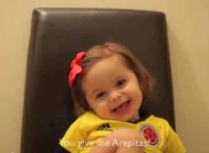 She loves her papi because he gives her Colombian corn cakes, arepas. But also bread and kisses.…this is the cutest video you are going to see today