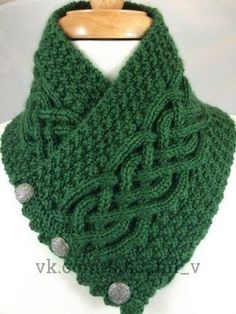 Irish Celtic Knot Trinity neck warmer ~ Celtic cable flanked by trinity stitch, . Irish Celtic Knot Trinity neck warmer ~ Celtic cable flanked by trinity stitch, short ruffled ends with metal button clo. Knit Cowl, Knitted Shawls, Crochet Scarves, Knitting Scarves, Cable Cowl, Lace Shawls, Loom Knitting, Free Knitting, Finger Knitting
