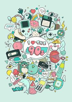 I really like the Artwork Illustration, gameboy, furby, tamagotchi, accessible as print: www.at Extra Illustration Children obtain Stickers Kawaii, Desenho Pop Art, 90s Art, 90s Theme, Love The 90s, 90s Childhood, 90s Nostalgia, Doodle Art, Doodle Drawings