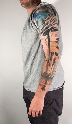 Emrah Lausbub tattoo Arm Tattoos Color, Full Arm Tattoos, Body Tattoos, Color Tattoo, Sleeve Tattoos, Tatoos, Brush Tattoo, Fire Tattoo, Legs