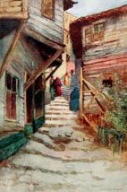 W. Goble, Merdivenli Sokak. A. Van Millingen, 'Constantinople', Paris 1906. Helioprint.