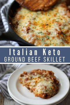 Italian Keto Beef Skillet Whether meal planning for the week or needing a quick, easy dinner this is the ideal meal for you. Featuring hearty ground beef and cheesy deliciousness Keto Italian Ground Beef Casserole is the perfect Italian meal for you. Beef Skillet Recipe, Easy Skillet Meals, Easy Meals, Skillet Cooking, Skillet Recipes, Quick Keto Meals, Ketogenic Recipes, Low Carb Recipes, Diet Recipes