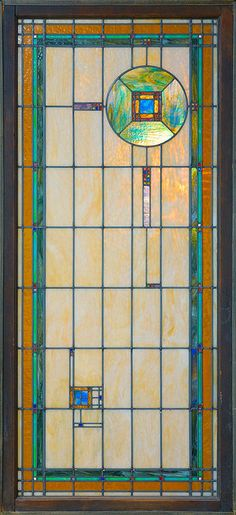 George Grant Elmslie - Leaded Glass Light Screen from the Madison State Bank, Madison, Minnesota. Circa 1913.  Madison State Bank by Captain Tenneal on Flickr