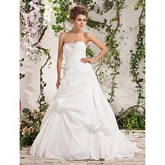 Amazing Ball Gown Strapless Court Train Taffeta Wedding Dress – USD $ 418.49