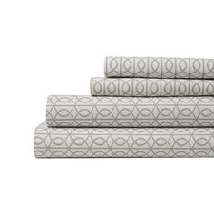 Gate Sheet Set | Our iconic Gate print makes its way into the bedroom. Sheets are our favorite way to bring print and pattern into the bedroom. The chic smoke layers perfectly with Aviary and Modern Border Smoke.