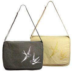 Swallow Guild Vintage Feel Canvas Messenger Bag – Ask Alice by All Gifts Online Canvas Messenger Bag, All Gifts, Printed Bags, Online Gifts, Swallow, Alice, Feelings, Prints, Vintage