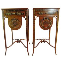 Pair of Maitland-Smith George III Satinwood Bedside Tables SATURDAY SALE | From a unique collection of antique and modern side tables at http://www.1stdibs.com/furniture/tables/side-tables/