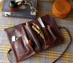 Clemens Leather Cigar, Pipe & Tobacco Pouch -- Hand Dyed and Hand Made in the U.S.A.. If you have a boyfriend or husband who's a real man, this is the perfect gift.