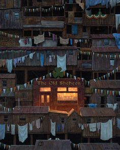 The Old Shebeen by Brian McCarthy -PRINT.  In spite of the shanty town, this makes me feel all warm and cozy inside.