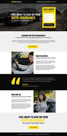 quality auto insurance free quote responsive landing page