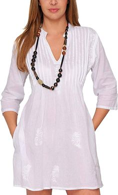 Look what I found on White Pin Tuck Tie-Back Notch Neck Dress Nice Dresses, Casual Dresses, Short Dresses, Casual Outfits, Fashion Dresses, Summer Dresses, Mode Style, Blouse Designs, Designer Dresses