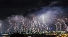 Lightning strikes over Johannesburg. Johannesburg claims to be the lightning capital of the world, though this title is also claimed by others. More than 260 people are killed by lightning strikes in Tornados, Thunderstorms, Johannesburg Africa, Johannesburg Skyline, Fuerza Natural, Dramatic Photos, Thunder And Lightning, Lightning Storms, Lightning Strikes