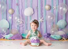 Burlington Ontario Cake Smash Baby Photographer, Mermaid Cake Smash, First Birthday, Child Photographer 1st Birthday Photoshoot, First Birthday Photos, Girl First Birthday, Birthday Pictures, Twin Cake Smash, Cake Smash Photos, 1st Birthday Cake Smash, Cake Smash Photography, Mermaid Cakes