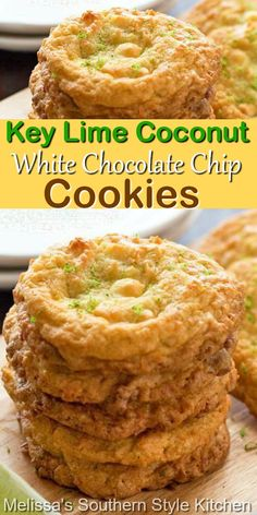 Island inspired Key Lime Cookies #keylimecookies #coconutcookies #whitechocolate #cookierecipes #summerdesserts #dessertfoodrecipes #keylimedesserts #holidaybaking #holidays #summerpicnics #southernrecipes #southernfood Key Lime Desserts, Cookie Desserts, Cookie Recipes, Dessert Recipes, Just Desserts, Strawberry Desserts, Lemon Desserts, White Chocolate Chip Cookies, Chocolate Tarts
