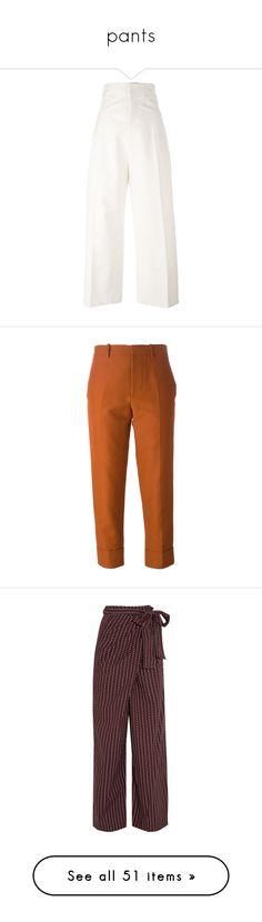 """pants"" by dani-gracik ❤ liked on Polyvore featuring pants, bottoms, pantaloni, high rise trousers, high-waisted pants, white high waisted trousers, white trousers, white high waisted pants, capris and trousers"