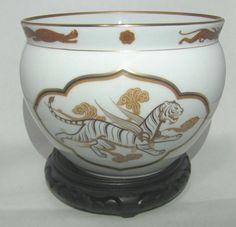 Vintage Japanese Okura Vase - 1 978 Franklin Porcelain Collection - White Tiger