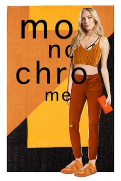 """""""one colour"""" by kiera-jay ❤ liked on Polyvore featuring Forever 21, Maison Margiela, Style & Co., Vivienne Westwood, casual, monochrome, orange, jeans and sneakers"""