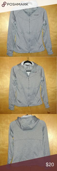 Avalanche Tek Sweatshirt Amazing active zip-up sweatshirt by Avalanche. Moisture wicking, wind resistant, water repellent outer, fuzzy warm inside, and flattering tapered fit. Thumb holes in sleeves, high neck & tight hood keep you nice & warm.  Heather grey color goes with everything. Women's m. Worn only a few times, like new. avalanche Jackets & Coats