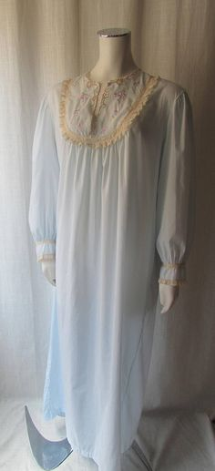 1960s vintage long nightgown baby blue  embroidered front
