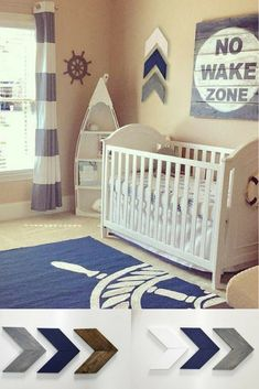 Cute Nautical Nursery Idea | Boy Decor | Chevron Arrows | #ad