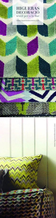 Tejidos para el hogar basados en diseños originales producidos en telares manuales. Las Telas de Chenille son especiales para tapizar. Telas de colores sobrios e iluminados. Ropa de tapicería con atrevidas combinaciones.  Teixits per a la llar basats en dissenys originals produïts en telers manuals. Les Teles de xenilla són especials per entapissar. Teles de colors sobris i il·luminats. Roba de tapisseria amb atrevides combinacions. www.higuerasdecoracio.com