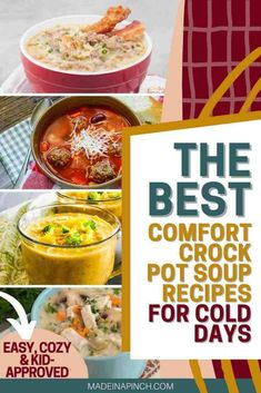 The days are getting cooler! It's time to add some delicious fall and winter crock pot soups to your menu. Check out this list of super simple slow cooker soup recipes that will knock your socks off and make you fall in love with eating soup again. | Made in A Pinch @madeinapinch #soup #souprecipes #crockpotrecipes #slowcookerrecipes #crockpot #slowcooker #crockpotsoup #slowcookersoup #madeinapinch