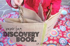 A Little Learning For Two: Paper Bag Discovery Book - make these simple bags with your little one for next time you head outdoors. Creative Activities, Writing Activities, Activities For Kids, Kindergarten Science, Preschool, Library Lessons, Simple Bags, Kids Bags, Teaching Kids
