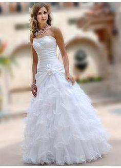 Buy discount Lovely Taffeta & Organza Full-length Strapless Beaded Wedding Dress\  Ball gown at dressilyme.com