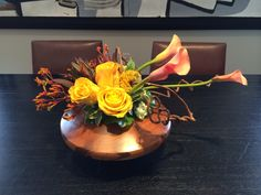Roses & Cali Lilies in a wood vase