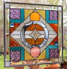 "Stained Glass Window Panel ""Another World"" Abstract 
