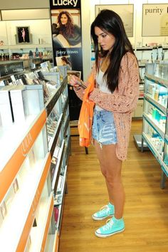 Kendall Jenner - shorts, white top, cardie, converse