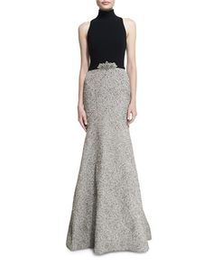 TAYVP Theia Mock-Neck Sleeveless Mermaid Gown