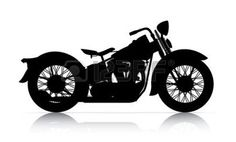 classic motorcycle: silhouette of classic motorcycle onwhite back ground Stock Photo