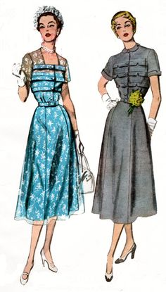1950s Designer Dress with Horizontal bodice tucks and a Flared 4 gore Skirt Simplicity 8261 50s Vintage Sewing Pattern Size 14 Bust 32 UNCUT by sandritocat on Etsy